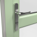 EXTERNAL CHROME HANDLE ON uPVC RESIDENTIAL DOOR (COLOUR - CHARTWELL GREEN ON WHITE BASE)