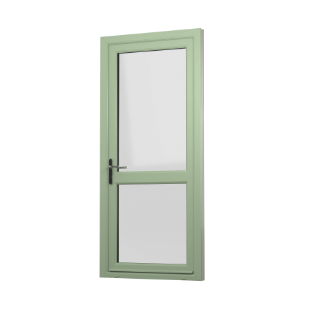 EXTERNAL VIEW OF OPEN IN uPVC RESIDENTIAL DOOR (COLOUR - CHARTWELL GREEN)
