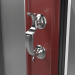 CHROME DOCTORS KNOCKERS ON SENTINEL COMPOSITE FRONT DOOR (COLOUR - RED)