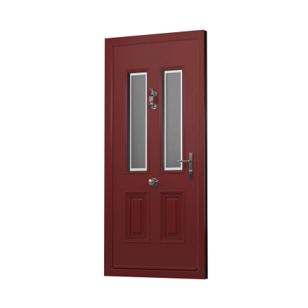 EXTERNAL OPEN IN VIEW OF SENTINEL COMPOSITE FRONT DOOR (COLOUR - RED)