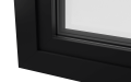INTERNAL CORNER OF ALUMINIUM CASEMENT WINDOW (COLOUR - JET BLACK RAL 9005 MATT)