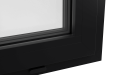 EXTERNAL CORNER OF ALUMINIUM CASEMENT WINDOW (COLOUR - JET BLACK RAL 9005 MATT)