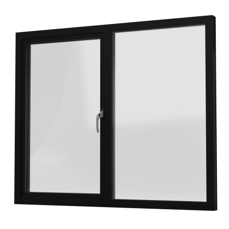 INTERNAL VIEW OF ALUMINIUM CASEMENT WINDOW (COLOUR - JET BLACK RAL 9005 MATT)