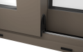 EXTERNAL TRACK DETAIL OF ALUMINIUM LIFT & SLIDE DOOR (COLOUR - BEIGE GREY RAL 7006 MATT)