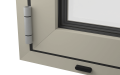 EXTERNAL CORNER OF ALUMINIUM BI-FOLD DOOR (COLOUR - PEBBLE GREY RAL 7032 MATT)