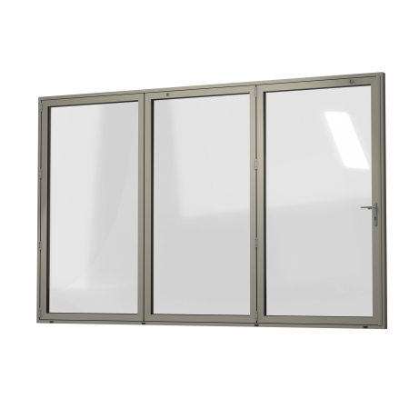 EXTERNAL VIEW OF ALUMINIUM BI-FOLD DOOR (COLOUR - PEBBLE GREY RAL 7032 MATT)