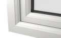 INTERNAL CORNER OF uPVC CASEMENT WINDOW (COLOUR - WHITE WOODGRAIN)