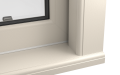 EXTERNAL CORNER OF uPVC VERTICAL SLIDING SASH WINDOW (COLOUR - CREAM WOODGRAIN)