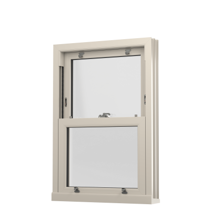INTERNAL VIEW OF uPVC VERTICAL SLIDING SASH WINDOW (COLOUR - CREAM WOODGRAIN)