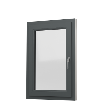 INTERNAL VIEW OF uPVC TILT & TURN WINDOW (COLOUR - 7012 GREY WOODGRAIN ON WHITE BASE)