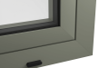 EXTERNAL CORNER OF ALUMINIUM TILT AND TURN WINDOW (COLOUR - CEMENT GREY RAL 7033 MATT)