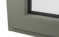 INTERNAL CORNER OF ALUMINIUM TILT & TURN WINDOW (COLOUR - CEMENT GREY RAL 7033 MATT)