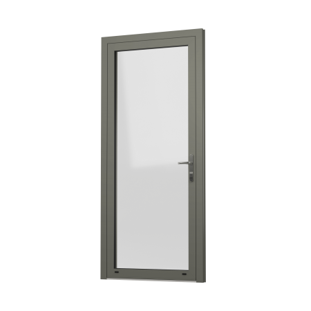 EXTERNAL VIEW OF OPEN IN ALUMINIUM RESIDENTIAL DOOR (COLOUR - CONCRETE GREY RAL 7023 MATT)