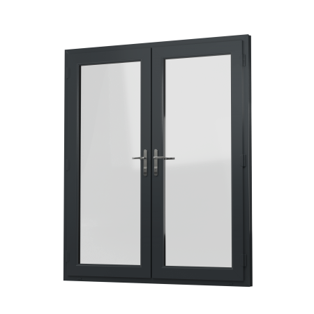 EXTERNAL VIEW OF OPEN OUT uPVC FRENCH DOORS (COLOUR - 7016 GREY WOODGRAIN)